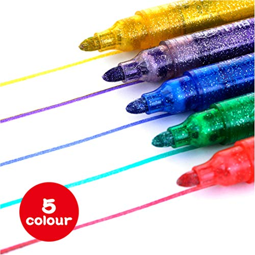 WITERY Glitter Paint Pens Water Based Medium Tip 5 for sale  Delivered anywhere in Canada