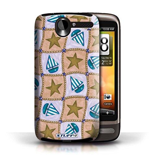 Etui / Coque pour HTC Desire G7 / Brun/Bleu conception / Collection de Bateaux étoiles
