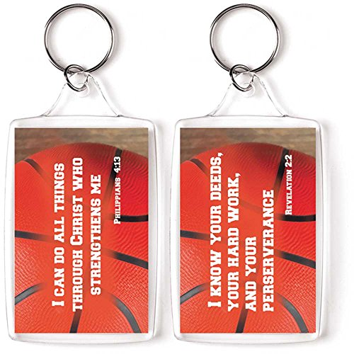 Basketball Scripture Phil. 4:13 and Revelation 2:2 Christian Key Ring Keychain