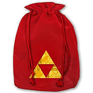 Zelda Triforce Items Boys Red Velvet Drawstring Santa Plush Gift Bag For Christmas Wedding Gifts