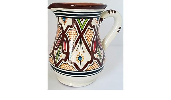 Tarro de cerámica marroquí jarra sangria enfriador de zumo de agua dispensador de bebidas: Amazon.es: Hogar