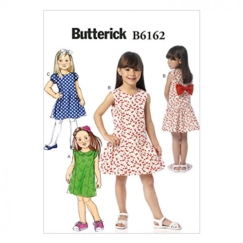 Butterick Girls Easy Sewing Pattern 6162 Lined Dresses with Bow