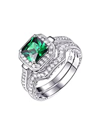 Newshe Created Green Emerald White AAA Cz 925 Sterling Silver Wedding Engagement Ring Set Size 5-10