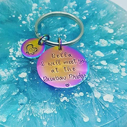 Personalised Rainbow Bridge Cat//Dog//Pet Loss Memorial Key//Bag Charm