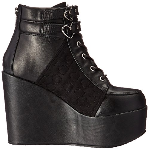 velvet Leather Black vel Demonia womens Poi105 Vegan Bvl wx86SH60
