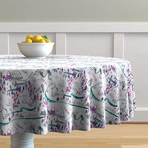 Roostery Round Tablecloth, Kid' Girl' Room Decor Nursery Adventure Pink Purple Blue Tomboy Print, Cotton Sateen Tablecloth, 90in (Decor Room Tomboy)
