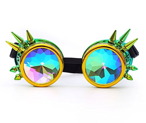 Kaleidoscope Rave Goggles Rainbow Crystal Lenses Steampunk Glasses Chrome -