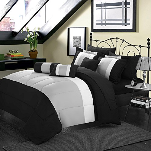 (Serenity Black & Grey King 10 Piece Comforter Bed In A Bag Set)