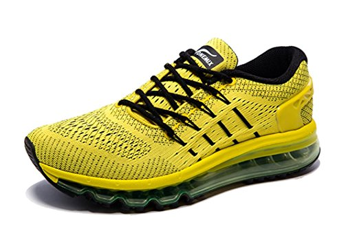 Black Yellow Sneakers (Onemix Men's Air Running Shoes, Light Gym Outdoor Walking Sneakers Yellow Black Size 10 D(M) US)