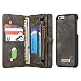 apple iphone 6s 6 wallet case, CaseMe® - genuine luxury leather, 10 card holders and note pocket in black (includes screen protector)