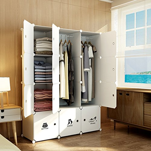 MAGINELS Magicial Panels Wardrobe Portable Clothes Closet Bedroom Armoire Dresser Cube Storage Organizer, Capacious & Customizable, White, 6 Cubes & 2 Hanging Sections