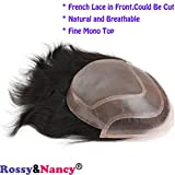 Rossy&Nancy Men Hairpiece Real French Lace Human