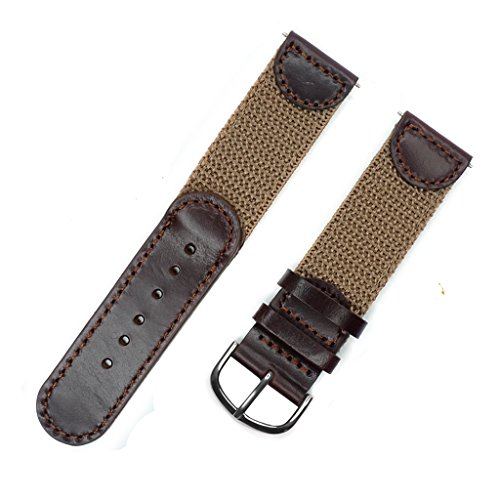 YQI Men's Calfskin Leather and Nylon NATO Watch Strap Swiss-Army Style Watch Band (Brown with Khaki, 18mm) - Band Swiss
