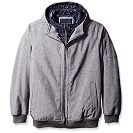 Men's Size Tall Soft Shell Fashion Bomber with Contrast Bib and Hood