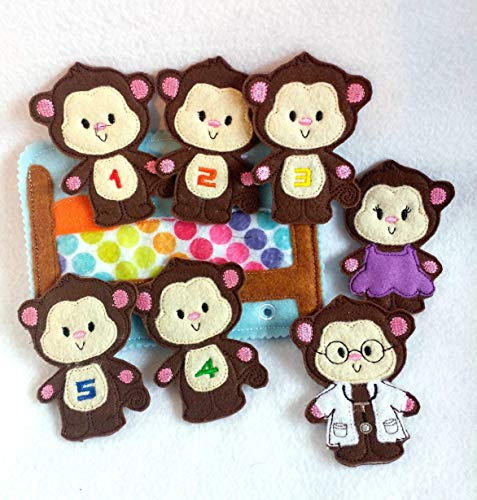 Five counting monkeys finger puppet toddler quiet book page - felt busy book - QB148