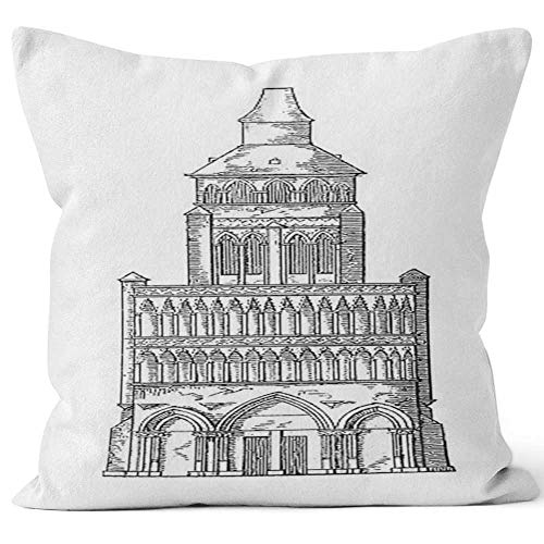 - Notre Dame de Dijon Throw Pillow Cover, France Antique Architectural Illustrations for Sofa Couch Car Bedroom Living Room D??cor