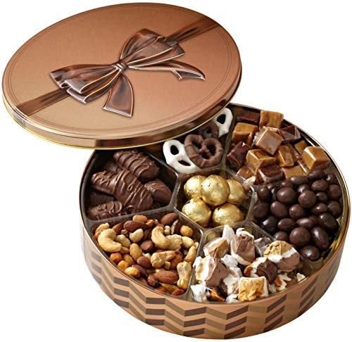(Christmas Holiday Nuts Gift Basket – Chocolate Gourmet Food Gifts Prime - Mothers & Fathers Day Chocolate Nut Gift Box, Assortment Tray - Birthday, Sympathy, Men, Woman & Families - Bonnie & Pop)