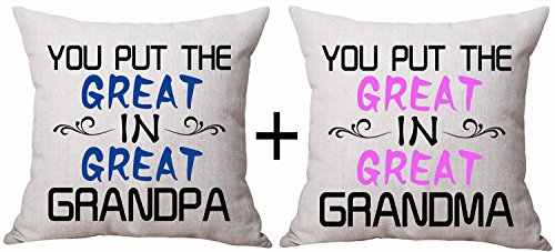 Set Of 2 Best Gifts For Grandma GrandPa Sweet Warm Funny Sayings You Put The Great In Great Grandma GrandPa Cotton Linen Decorative Throw Pillow Case Cushion Cover Square 18 X 18 Inches