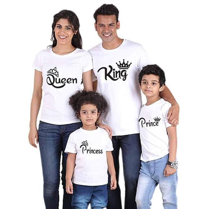 de3c99f6f Traje de Manga Corta con Estampado Familiar de King Queen Prince Princess  Ropa Estampada Entre Padres e Hijos Daddy Mommy Camisetas de Juego para  Niños ...