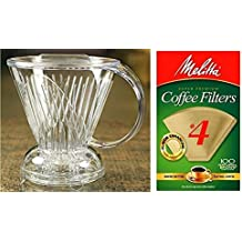 Coffee Shrub Clever Coffee Dripper, Large 18 Ounces - With Melitta Cone Coffee Filters Natural Brown #4 100 count