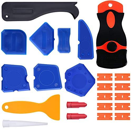 12 Pieces Caulking Tool Kit Sealant Tools Silicone Sealant Finishing Tool Grout Scraper Caulk Remover and Caulk Nozzle and Caulk Caps+1 Plastic Razor Scrapers Knife and 10PCS plastic blades