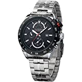 Curren Waterproof Sports Watches Men Full Steel Calendar Analog Quartz Watch AU Black+Silver