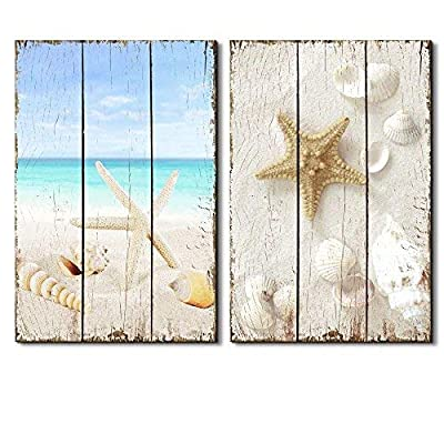 Beach Scene with Sea Life on The Sand - Canvas Art Wall Art - 24