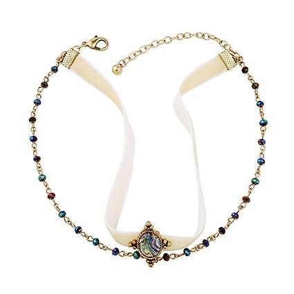 54ad14947408 Lostryy De las mujeres collar elegante varias capas terciopelo cinta  recortada diamantes piedras preciosas y