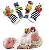 Futurekart™ Fashion 4 X Baby Infant Soft Toy Wrist Rattles Hands Foots Finders Developmental Lamaze