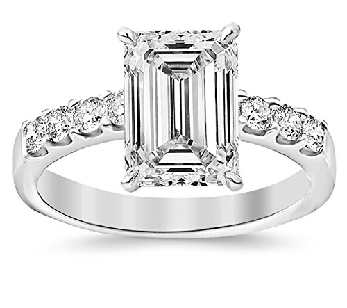 GIA Certified 0.99 Carat Near 1 Carat Emerald Cut/Shape 14K White Gold Classic Prong Set Diamond Engagement Ring 4 Prong with a 0.52 Carat, I Color, SI2 Clarity Center (Diamond Emerald Jewelry Set)