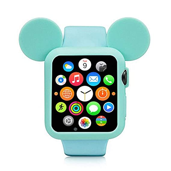 sale retailer db04f bee60 Navor Soft Silicone Protective Case Disney Character Mickey Mouse Ears  Compatible with Apple Watch 38mm Series 1/2/3 - Green