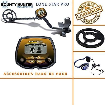 Bounty Hunter – Detector de Metales Lone Star Pro con Protector de Disco y auriculares