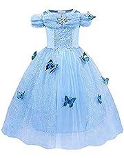 Gauze Tutu Summer Sweet Princess Dress Cinderella Costume Dress Princess Girls Birthday Party Cosplay Outfit,Age:7-8 Years