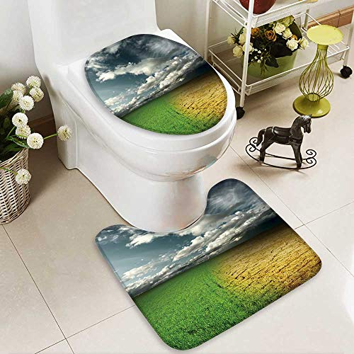 Cracked Desert Floor - aolankaili Bathroom Non-Slip Floor Mat Green Meadow and Cracked Desert Land Under Storm Clouds with High Absorbency