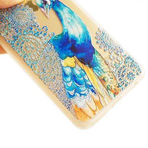 Voguecase® für Apple iPhone 5 5G 5S hülle, Schutzhülle / Case / Cover / Hülle / TPU Gel Skin (Pfau 01) + Gratis Universal Eingabestift