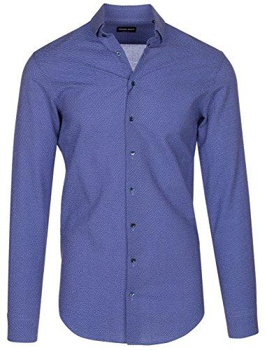 GIORGIO ARMANI Men's Blue Cotton Structured Dress Shirt, Blue, 15