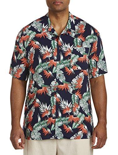 Island Passport by DXL Big and Tall Floral Print Camp Shirt (Floral Island)