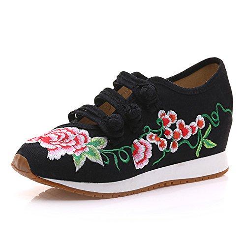 Zapatillas Zapatos a se Bordado Que Caminar Mujeres para Negro cu Pisos Las viajan Estudiantes oras de Zapatos 4BZq6