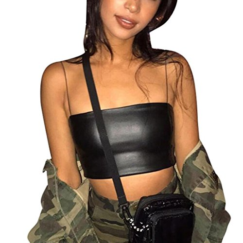 Crop Tops, Hot Sale! Tloowy Women Sexy Faux Leather Spaghetti Strap Tank Tops Sleeveless Camis Bra Vest (Black, - Graphic Leather
