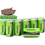 Interstate Batteries D Cell Batteries Alkaline Battery 12 Pack - Workaholic (DRY0085)