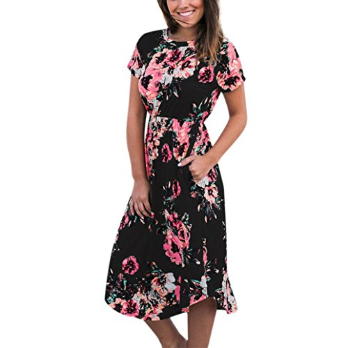 Long Dresses, FORUU Womens Floral Printed Short Sleeve Round Neck Casual Beach Black