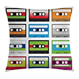 90s Decorations Throw Pillow Cushion Cover by Ambesonne, Retro Plastic Audio Cassettes Tapes Old Technology Entertainment Theme, Decorative Square Accent Pillow Case, 16 X 16 Inches, Green Blue
