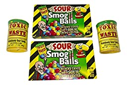 Toxic Waste Sour Candy Barrell (2) and Sour Smog Balls (2) - Known as the Most Sour Candy in the World!