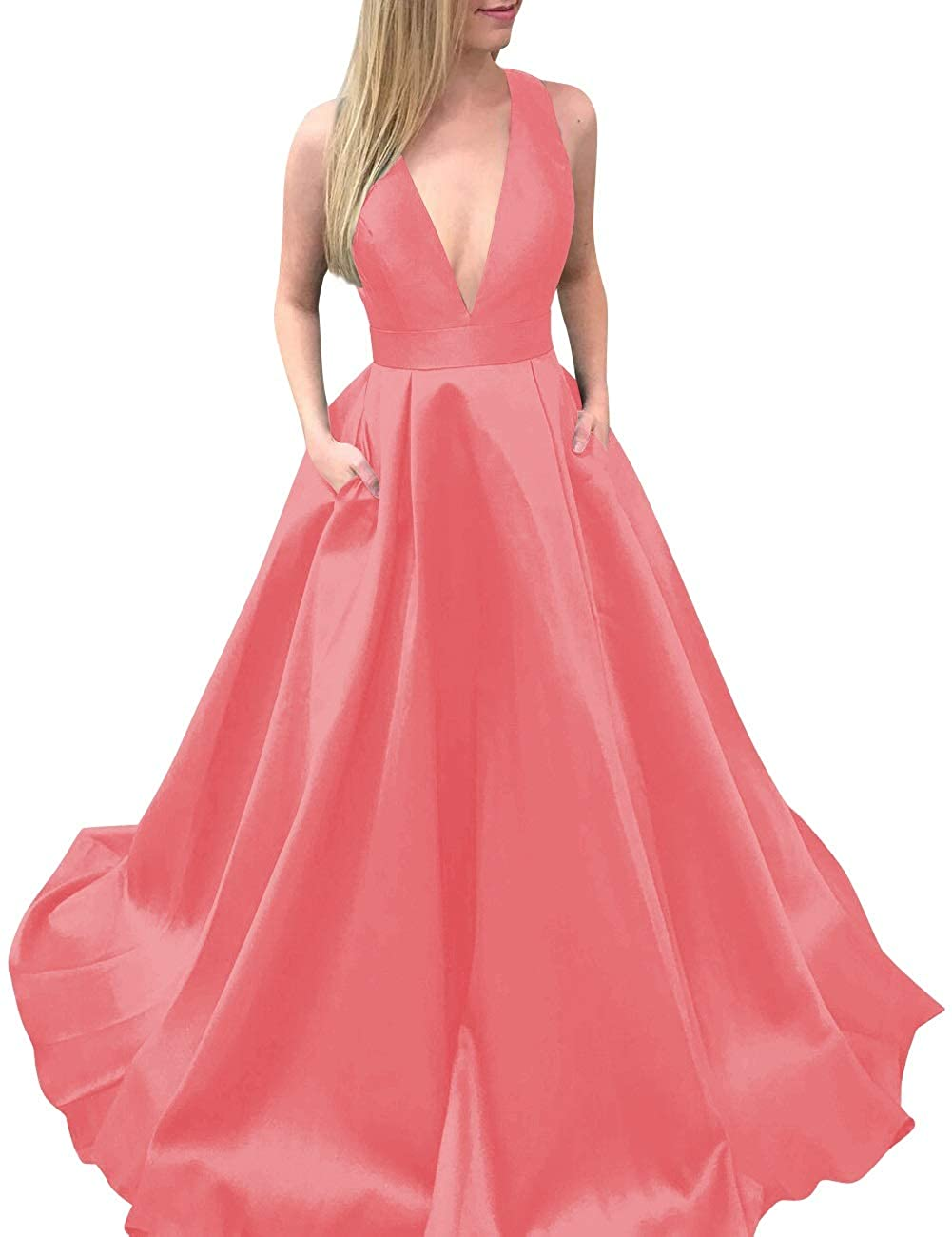 Coral MorySong Women's Deep VNeck Bowknot Back Satin Prom Evening Dress with Pockets