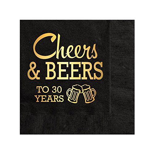 Cheers and Beers to 30 Years Napkins, Cocktail Napkins, Beverage Napkins, 30th Birthday Party Napkins, Gold Foil, Cheers and Beers, Black and Gold Napkins, Set of 25, Retirement Decorations, 30 Years