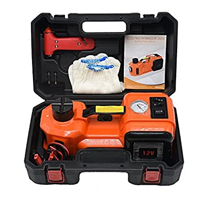 atliprime 12V DC 5.0T(11000lb) Capacity Electric Hydraulic Floor Jack and Tire Inflator Pump and LED Flashlight 3 in 1 Set Car Tire Repair Tool for Car, SUV