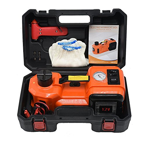 atliprime 12V DC 3.5T(7700lb) Capacity Electric Hydraulic Floor Jack and Tire Inflator Pump and LED Flashlight 3 in 1 Set Car Tire Repair Tool for Car, SUV (3 in 1 set for SUV) ZSYT02