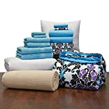16 Piece Starter Pak Ashley Damask and Aqua Twin XL College Dorm Bedding and Bath Set