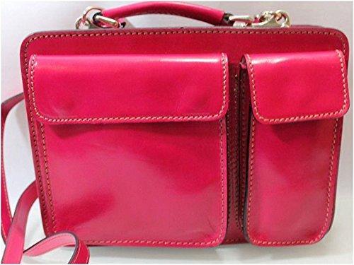Superflybags Borsa Uomo Piccola Porta Tablet Vera Pelle Made in Italy modello Classic M 28x20x9 fucsia