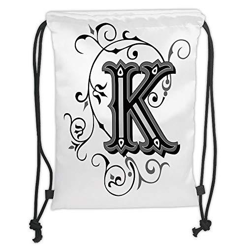 New Fashion Gym Drawstring Backpacks Bags,Letter K,Uppercase K with a Design from Medieval Times Letter Sign Alphabet Pattern Decorative,Black Grey White Soft Satin,Adjustable Str -
